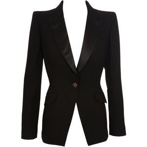 Satin trimmed wool tuxedo jacket